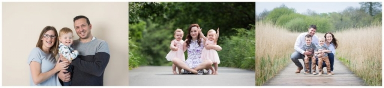 Young children enjoying a family photoshoot