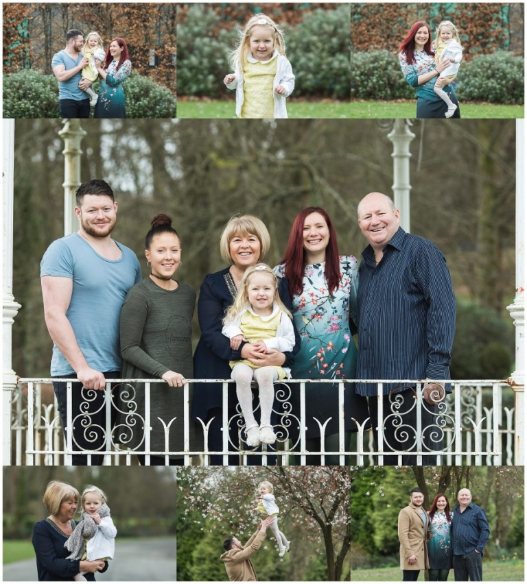 Family photoshoot showing three generations in a bandstand