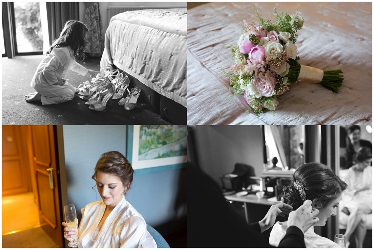 Bridal preparations for her wedding, child looking at wedding flowers