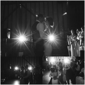 bride and groom dancing their first dance with flash starburst behind them