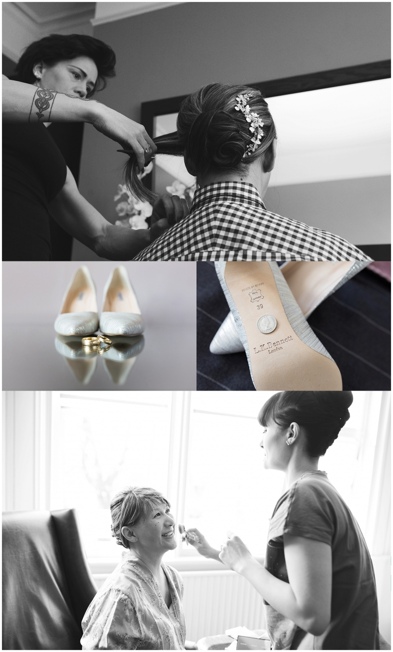 Bride getting ready for wedding, wedding rings and shoes