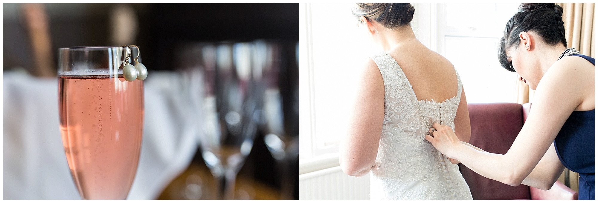 Bride preparing for her wedding, earrings on champagne glass and dress being fastened