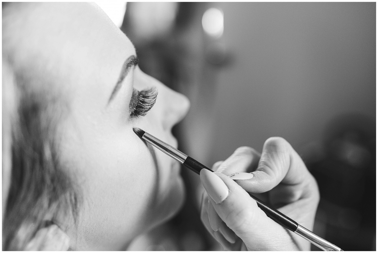 Bridal make up, eyelashes being done